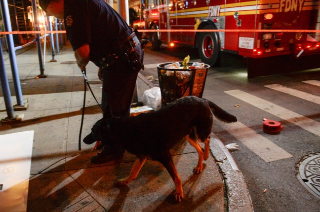 NYPD officer uses canine near site of explosion in New York