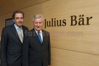 Official Opening of the Bank Julius Baer in the city of St.Moritz on NOVEMBER 29, 2012. Heinz Inhelder (Director Branch St.Moritz) & Raymond J. Baer (Honorary President of the Board) at the new premises in the city centre of St.Moritz.BILDNACHWEIS: fotoSwiss.com/cattaneo