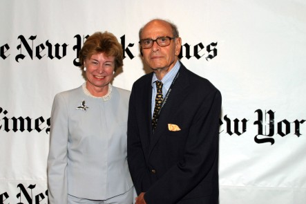 NEW YORK - AUGUST 30: Allison Cowles and Arthur Sulzberger Sr. attend a party hosted by Arthur O. Sulzberger Jr. publisher of the New York Times at the Frederick P. Rose Hall August 30, 2004 in New York City. (Photo by Bowers/Getty Images)